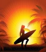 Surfer on the beach — Stock Vector