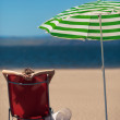 Womlying on deckchair at beach — Stock Photo #11464775