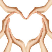 Hands make heart shape — Stockfoto