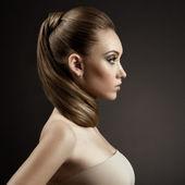 Beautiful Woman Portrait. Long Brown Hair — Stock Photo