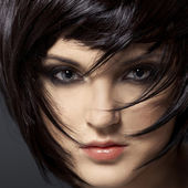 Girl.healthy brune belle hair.hairstyle. — Photo