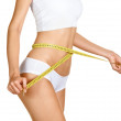 Woman measuring her waistline. Perfect Slim Body. Diet — Stock Photo #12194851