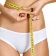 Portrait of young conscious woman measuring her waist over white — Stock Photo #12194853
