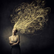 Beautiful woman with tangled curves instead of her hair — Stock Photo
