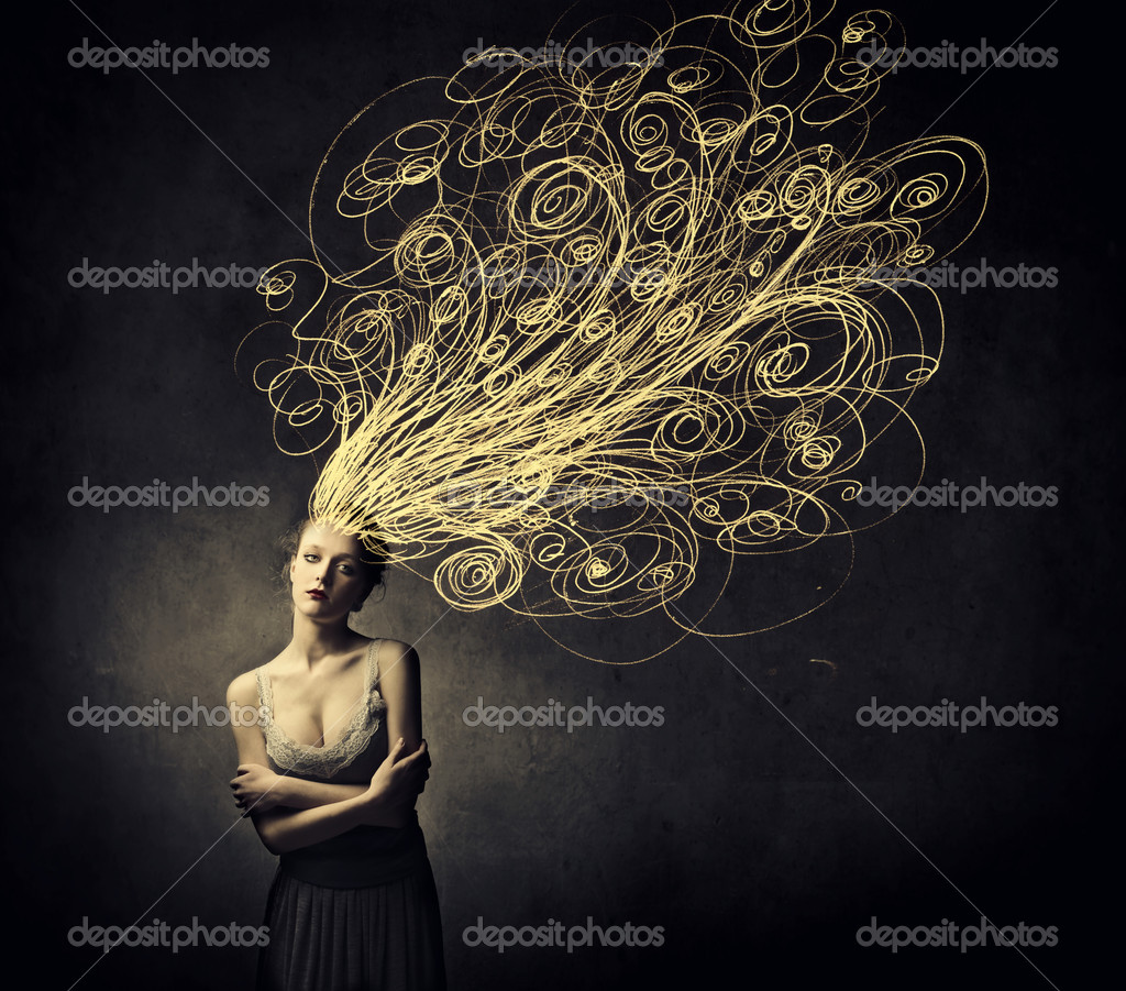 Beautiful woman with tangled curves instead of her hair — Stock Photo #10761531