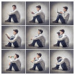 Stock Photo: Composition of portraits of the same young man doing different things