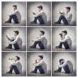 Composition of portraits of the same young man doing different things — Stock Photo