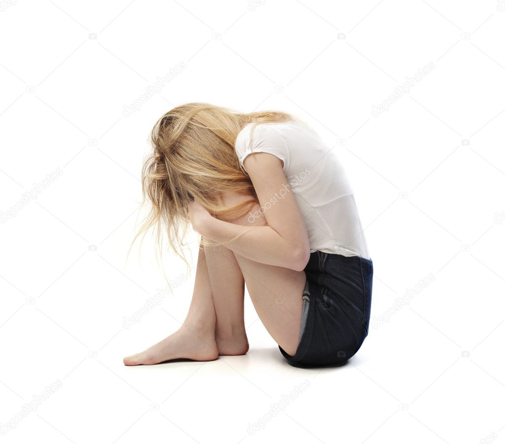 A beautiful girl is consoling herself. — Stock Photo #11019321