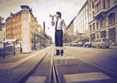 бизнес, выступая на улице — Стоковое фото
