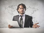 Astonished Anchorman — Stock Photo