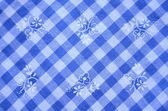 Pretty Blue Checked Material With Flowers — Stock Photo