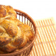Bread in a basket on white — 图库照片
