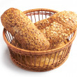 Bread in wooden basket — Foto Stock
