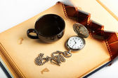 Página del álbum retro vintage reloj con cadena — Foto de Stock