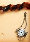 Retro album page with vintage clock with chain — Stok fotoğraf