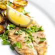Grilled mackerel with roasted potatoes — Stock Photo #10764271