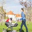 Womwith pram on walk — Stock Photo #10764699