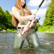 Stock Photo: Woman fishing in river, Czech Republic