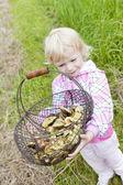 Liten flicka med korg med svamp — Stockfoto