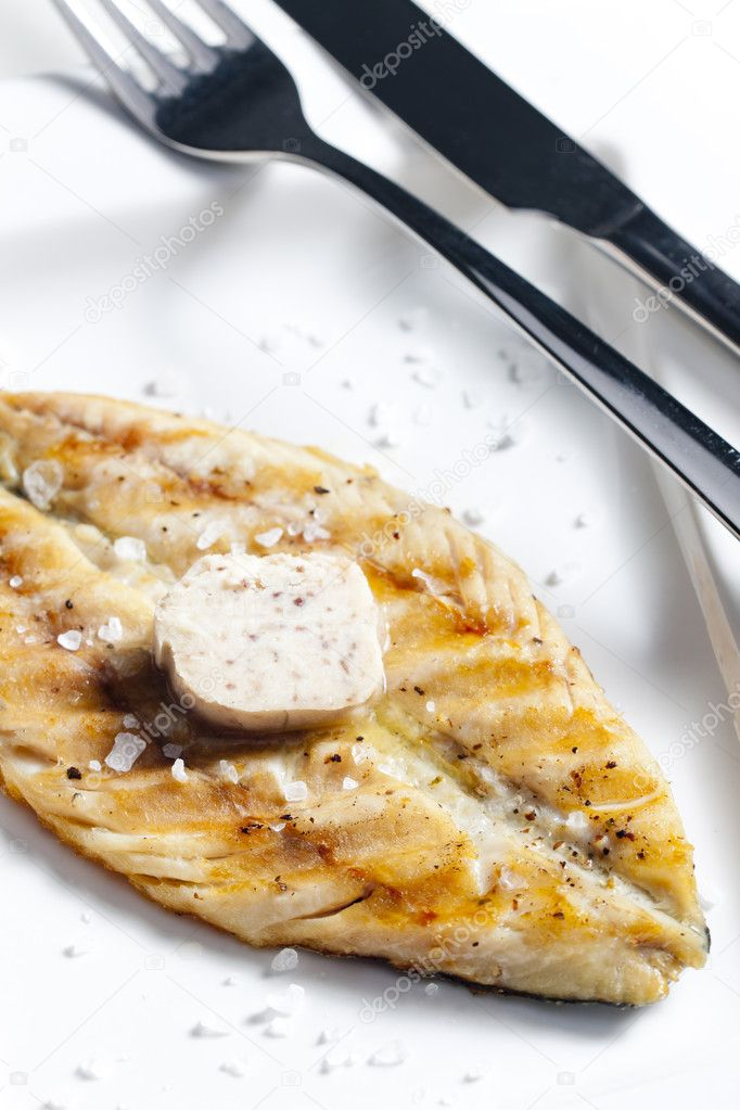 Grilled mackerel with anchovy butter — Stock Photo © phb ...