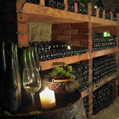 Wine cellar, Bily sklep rodiny Adamkovy, Chvalovice, Czech Repub — Stock Photo