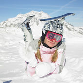 Woman skier, Alps Mountains, Savoie, France — Stock Photo