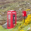 Telephone booth and letter box near Laid, Scotland — Stock Photo