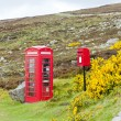 Telephone booth and letter box near Laid, Scotland — Stock Photo #10985945