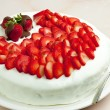 Stock Photo: Light yogurt cake with strawberries