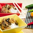 Poultry meat with corn and shitake mushrooms — Stock Photo