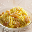 Stock Photo: Spaghetti with prawns
