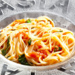 Spaghetti with tomatoes and basil — Stock Photo #10987074