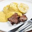 Sirloin on cream with dumplings — Photo