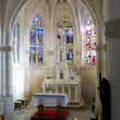 Interior of church Notre-Dame-en-sa-Nativite, Puellemontier, Champagne, France - Stock Photo