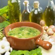 Soup (bouillon) with spinach — Stock Photo