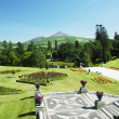 Powerscourt Gardens, Sugar Loaf Mountain at the background, Coun — Stock Photo