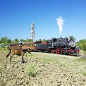 Tourist train Valle de Los Ingenios, Manaca Iznaga, Sancti Spiritus Province, Cuba — Stock Photo