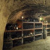 Wine cellar, Bily sklep rodiny Adamkovy, Chvalovice, Czech Republic — Stock Photo
