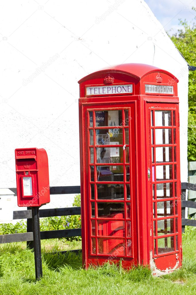 Telephone booth and letter box, Scotland  Stock Photo #10985787