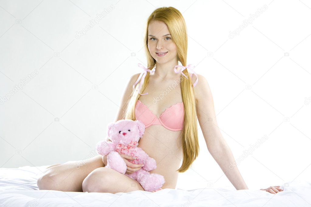 Woman Wearing Underwear With Teddy Bear Stock Photo