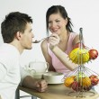 Couple during breakfast — Stock Photo