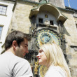 Couple in Prague, Horloge, Old Town Hall, Czech Republic — Stock Photo #10990502