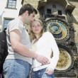 Couple in Prague, Horloge, Old Town Hall, Czech Republic — Stock Photo