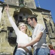 Couple in Prague, Horloge, Old Town Hall, Czech Republic — Stock Photo #10990510