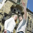 Couple in Prague, Horloge, Old Town Hall, Czech Republic — Stock Photo #10990513