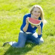 Woman with water melon — Stock Photo #10990535