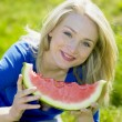 Woman with water melon — Stock Photo #10990539