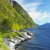 Landscape by Haldanger fjord, Norway — Stock Photo