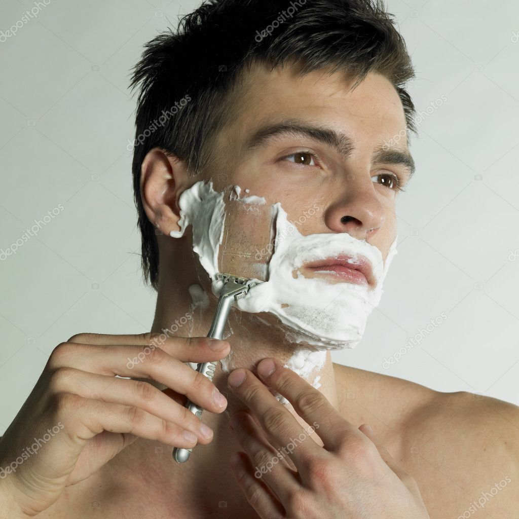 Portrait of shaving man  Stock Photo #10990295