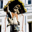 House detail with a statue, Banska Stiavnica, Slovakia — Stock Photo
